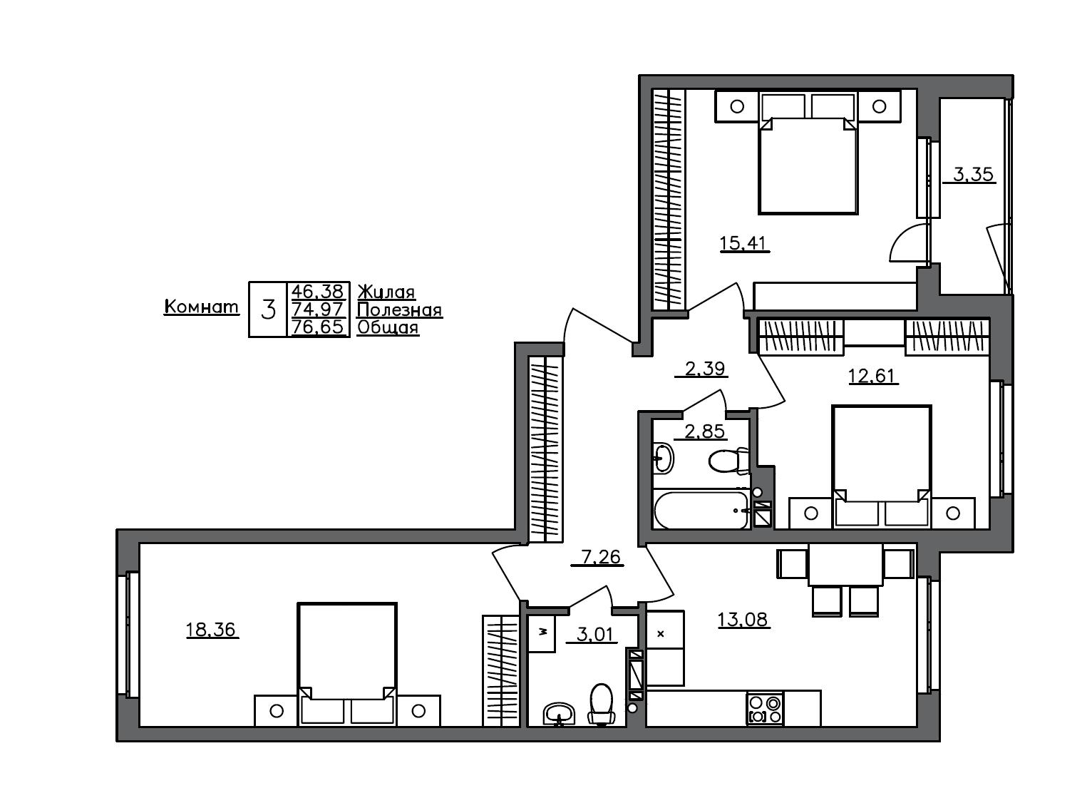 3-к.кв, 76.65 м²