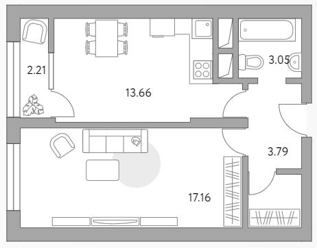 1-к.кв, 42.27 м²