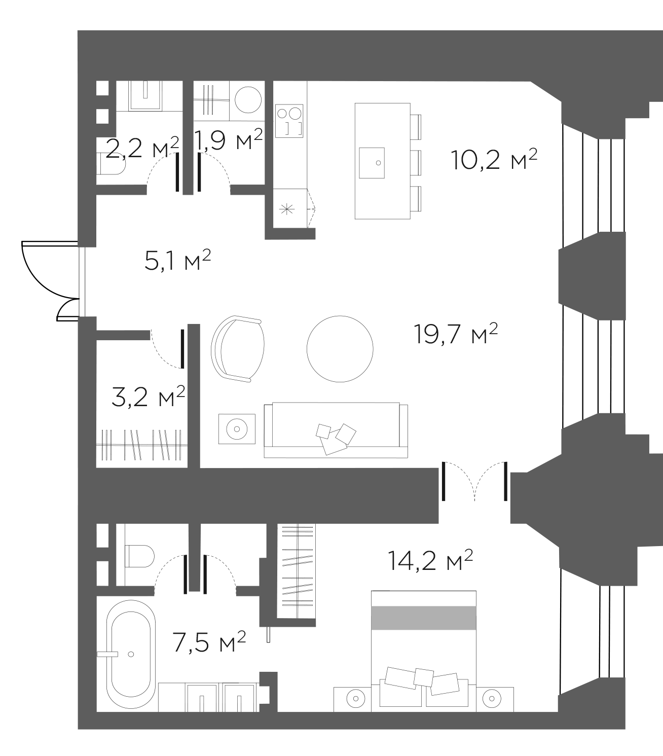 2Е-к.кв, 65 м²