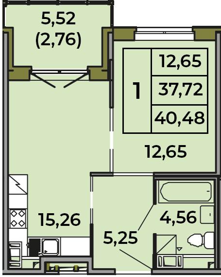 2Е-к.кв, 37.72 м², 2 этаж
