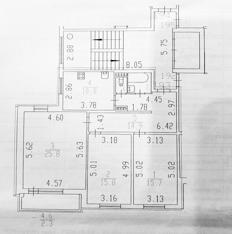 3-комнатная квартира, 96 м², 9 этаж – Планировка
