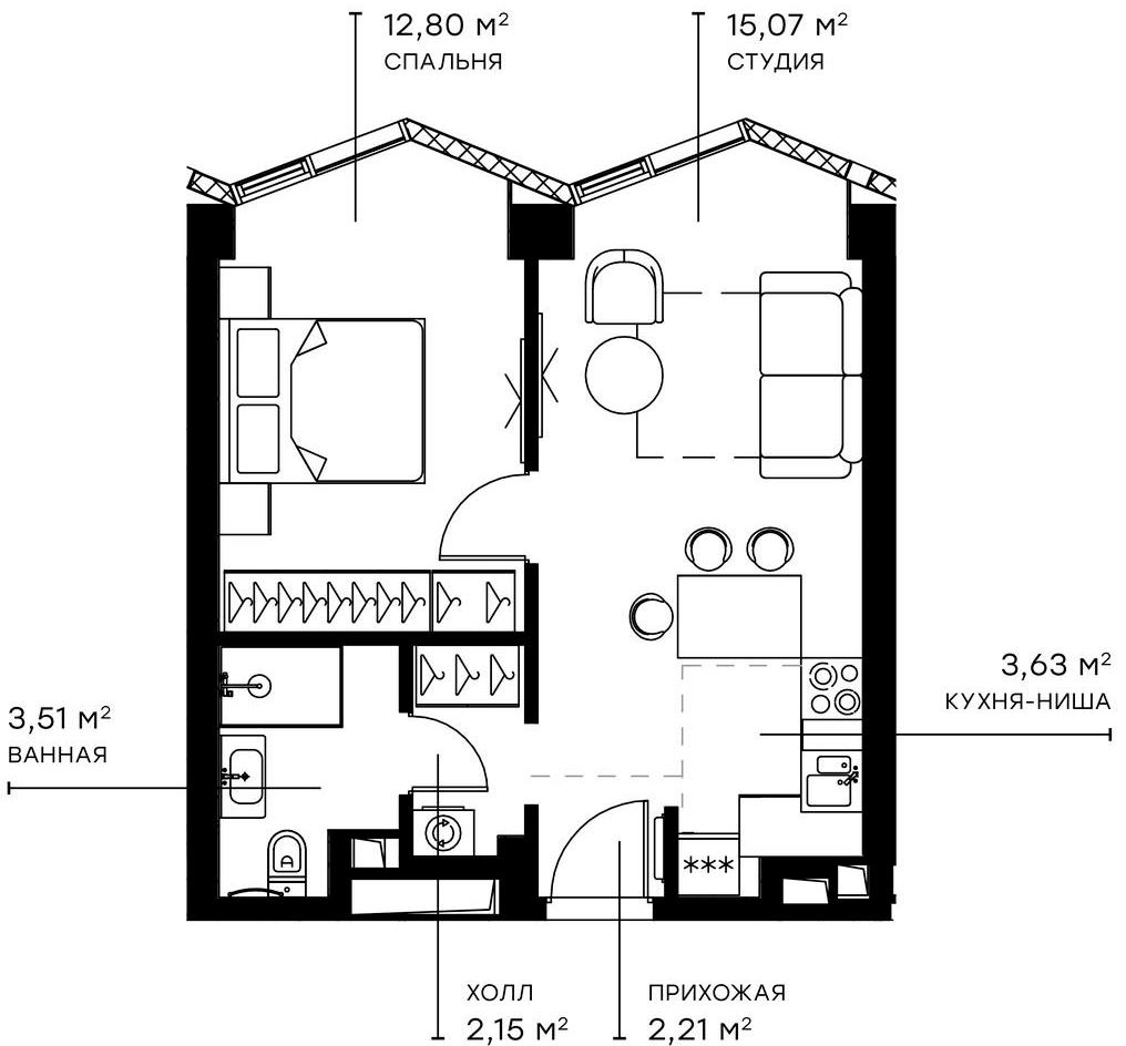2Е-комнатная, 39.37 м²– 2