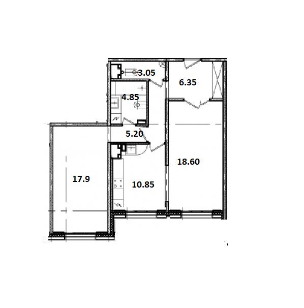 2-комнатная, 66.8 м²– 2