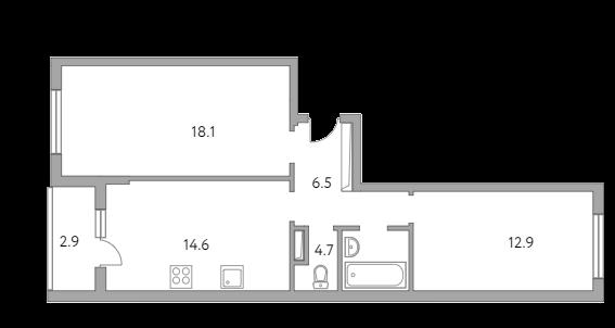 2-комнатная, 59.7 м²– 2