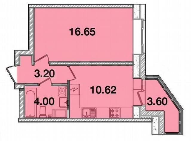 1-комнатная, 35.55 м²– 2