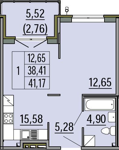 2Е-к.кв, 38.41 м², 1 этаж