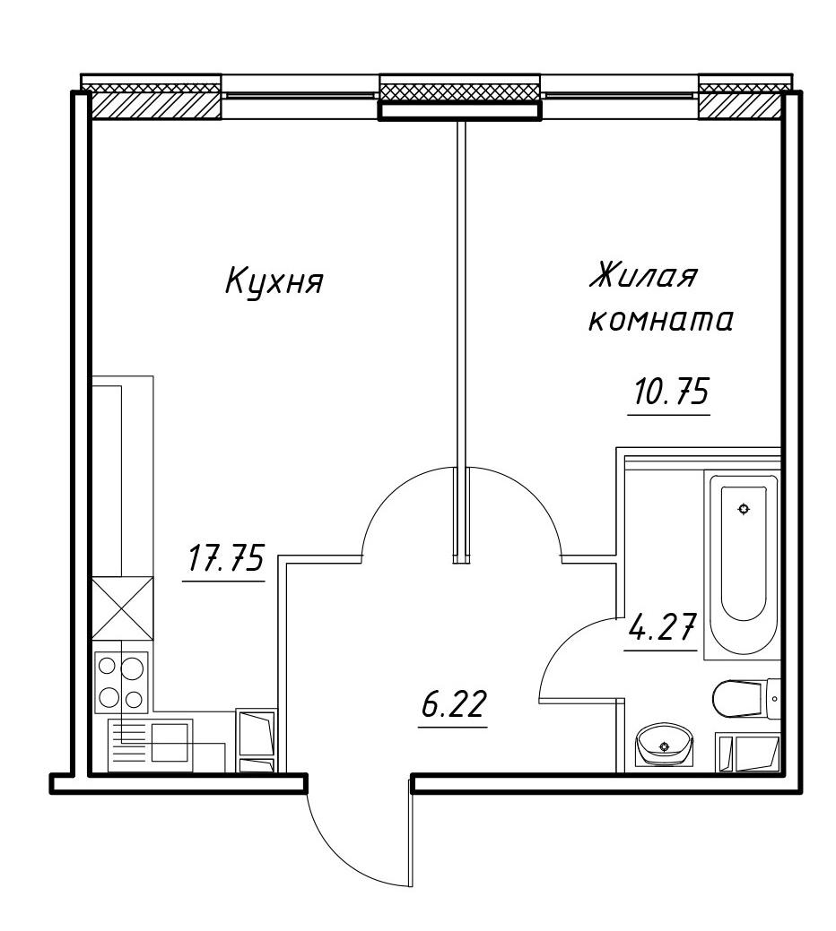 2-к.кв (евро), 38.99 м²