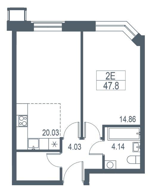 2-к.кв (евро), 45.5 м²