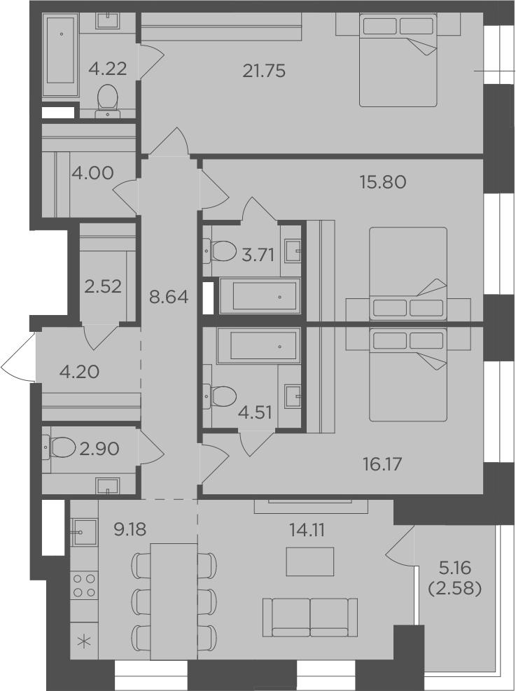 4-к.кв (евро), 116.87 м²
