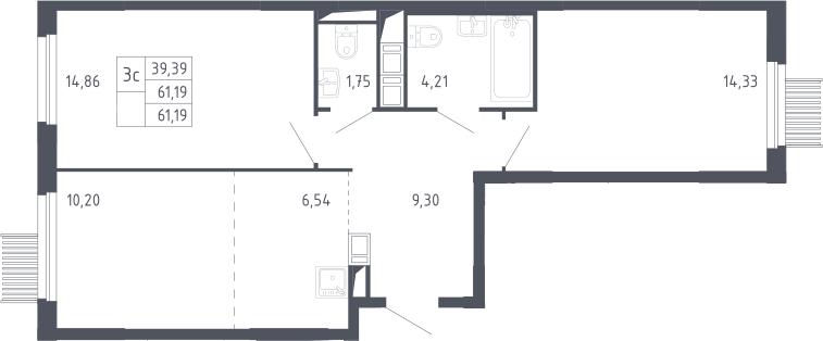 3Е-к.кв, 61.19 м²