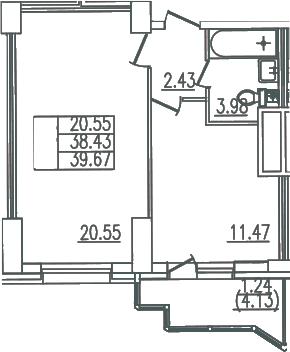 1-комнатная, 39.67 м²– 2