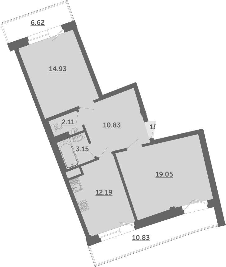 2-к.кв, 67.5 м², 2 этаж