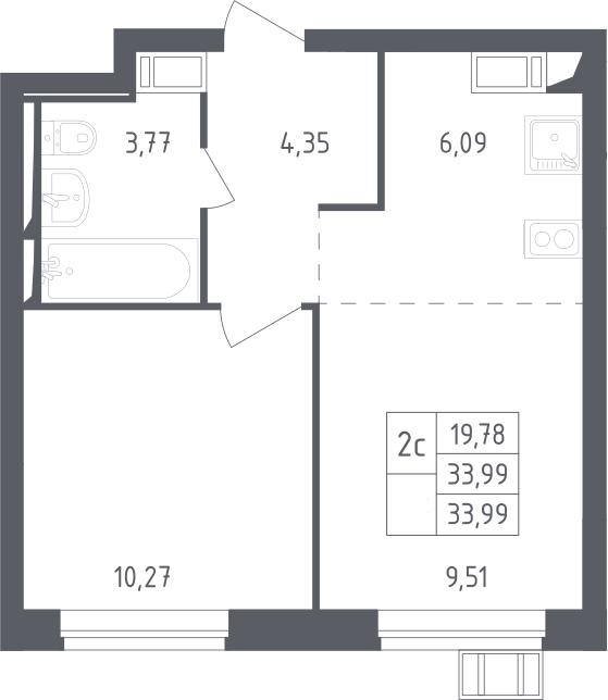 2Е-комнатная, 33.99 м²– 2