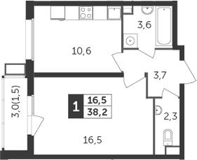1-к.кв, 38.2 м², 5 этаж