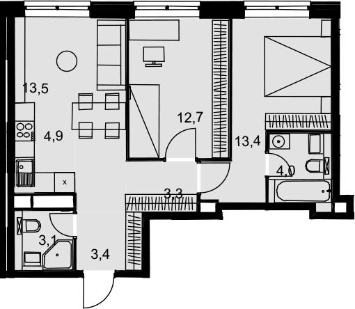 3Е-к.кв, 58.3 м², 17 этаж