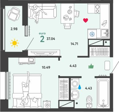 2Е-комнатная, 37.04 м²– 2