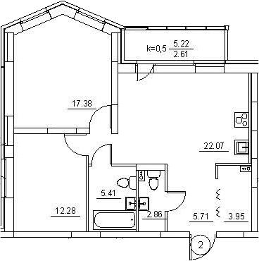 3Е-к.кв, 72.27 м², 1 этаж