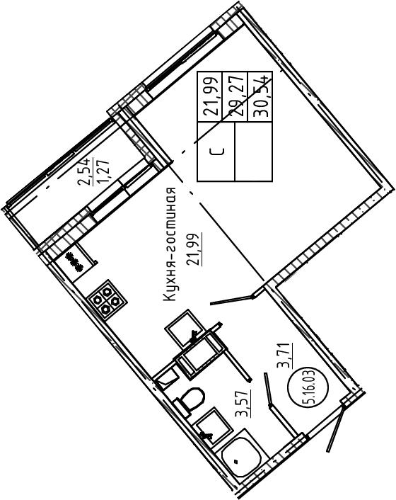 Студия, 30.54 м²– 2