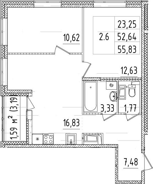 3Е-комнатная, 52.64 м²– 2