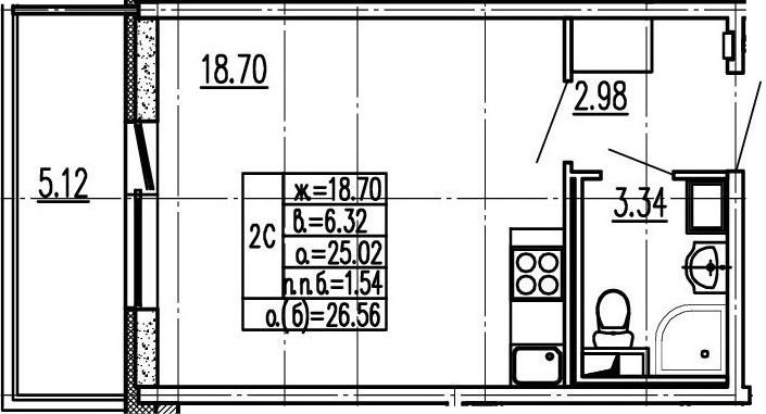 Студия, 30.14 м²