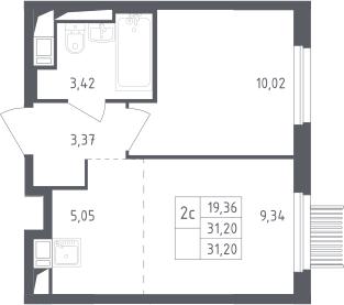 2Е-к.кв, 31.2 м²