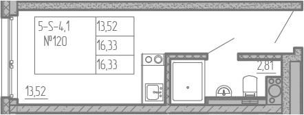 Студия, 16.33 м², 5 этаж
