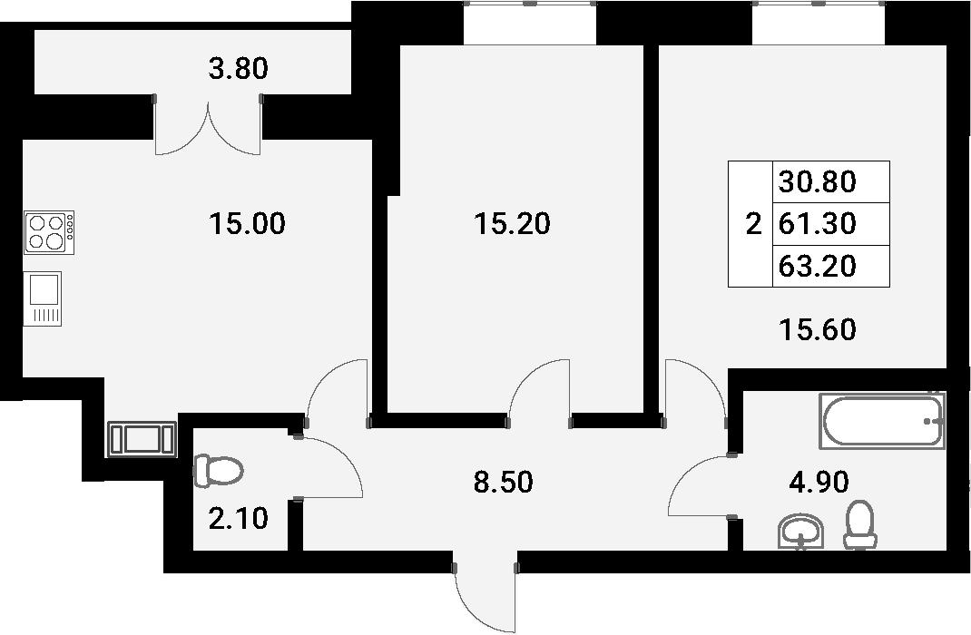 3-к.кв (евро), 65.1 м²