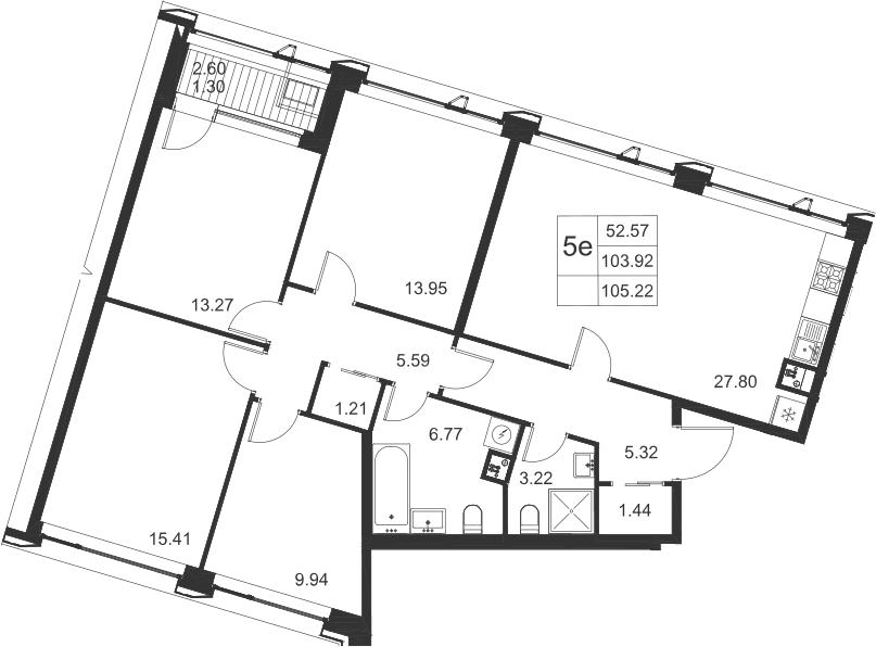 5Е-комнатная, 105.22 м²– 2