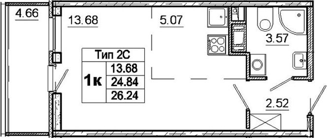 Студия, 24.84 м²