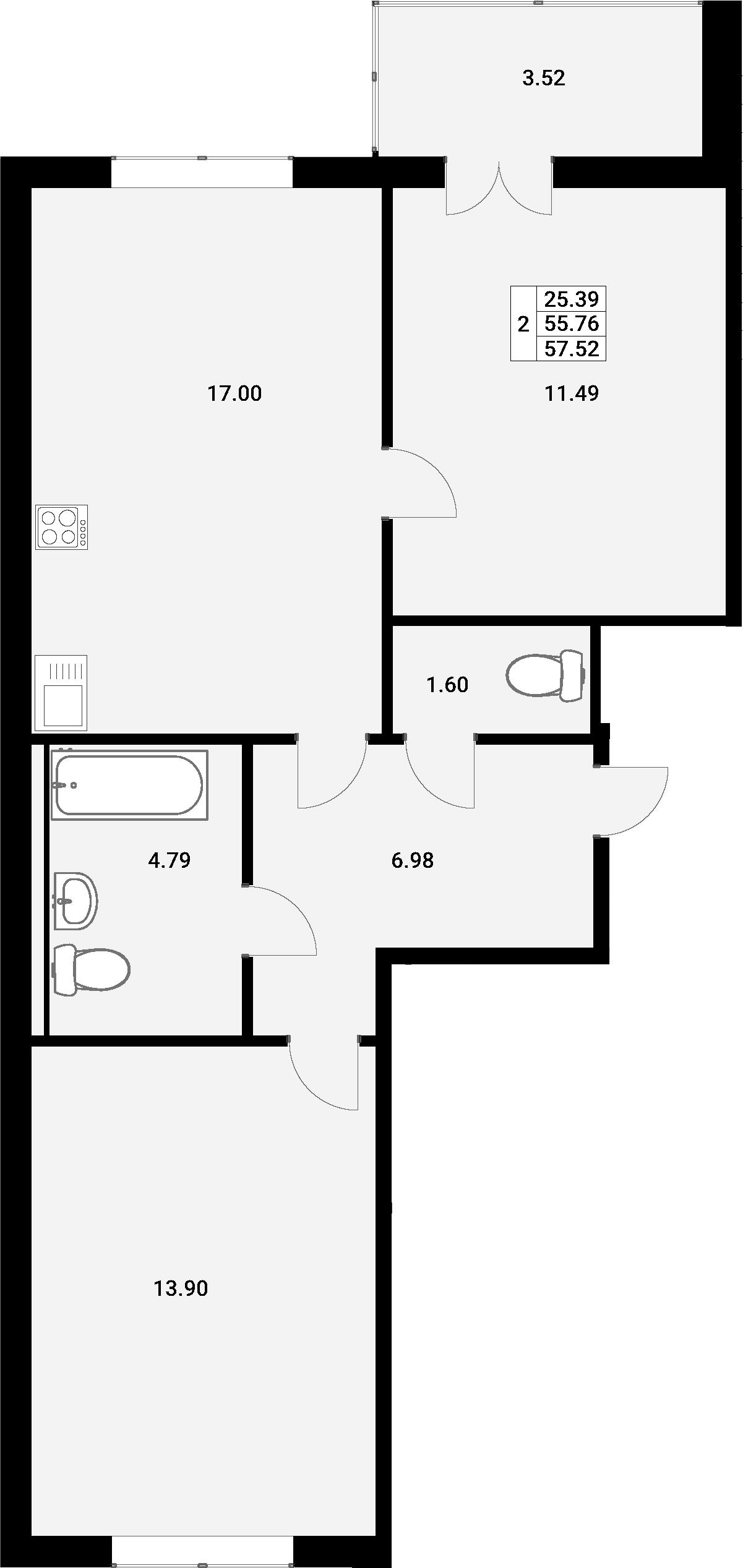 3Е-комнатная, 57.52 м²– 2