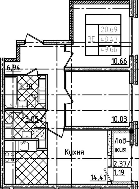 3Е-комнатная, 49.66 м²– 2