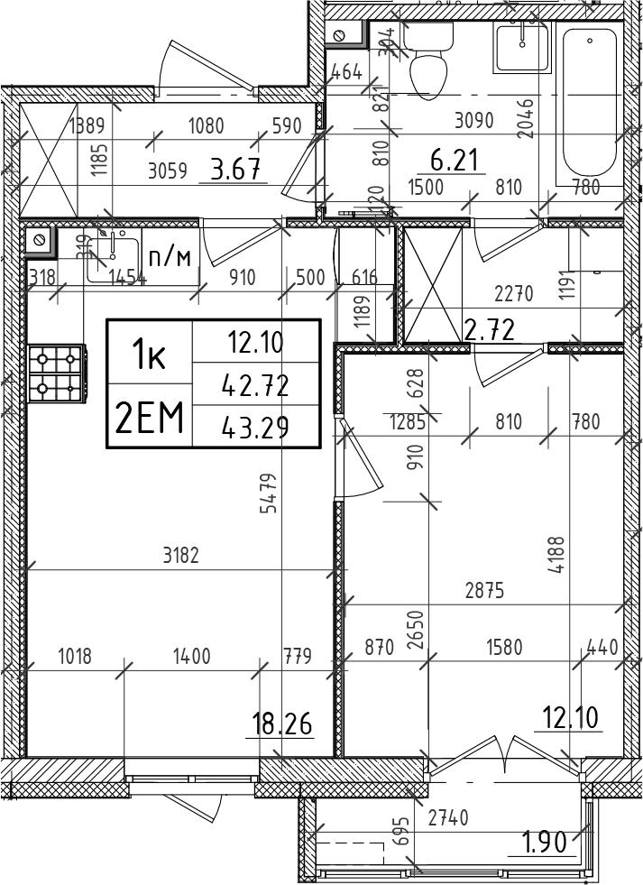 2Е-комнатная, 42.72 м²– 2