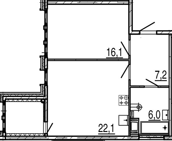 2Е-комнатная квартира, 53.6 м², 6 этаж – Планировка