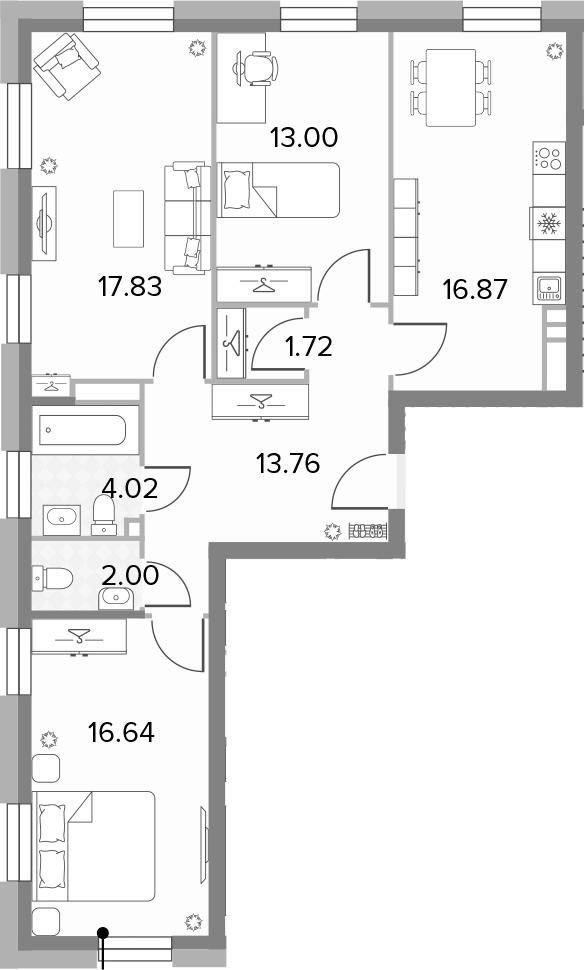 4Е-комнатная, 85.84 м²– 2