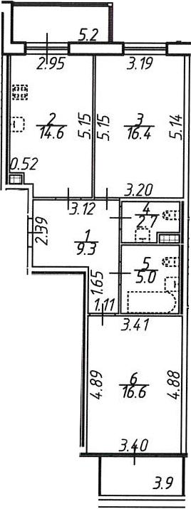 2-к.кв, 68.4 м², 9 этаж