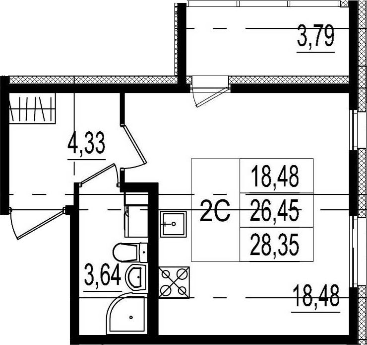 Студия, 26.45 м²– 2