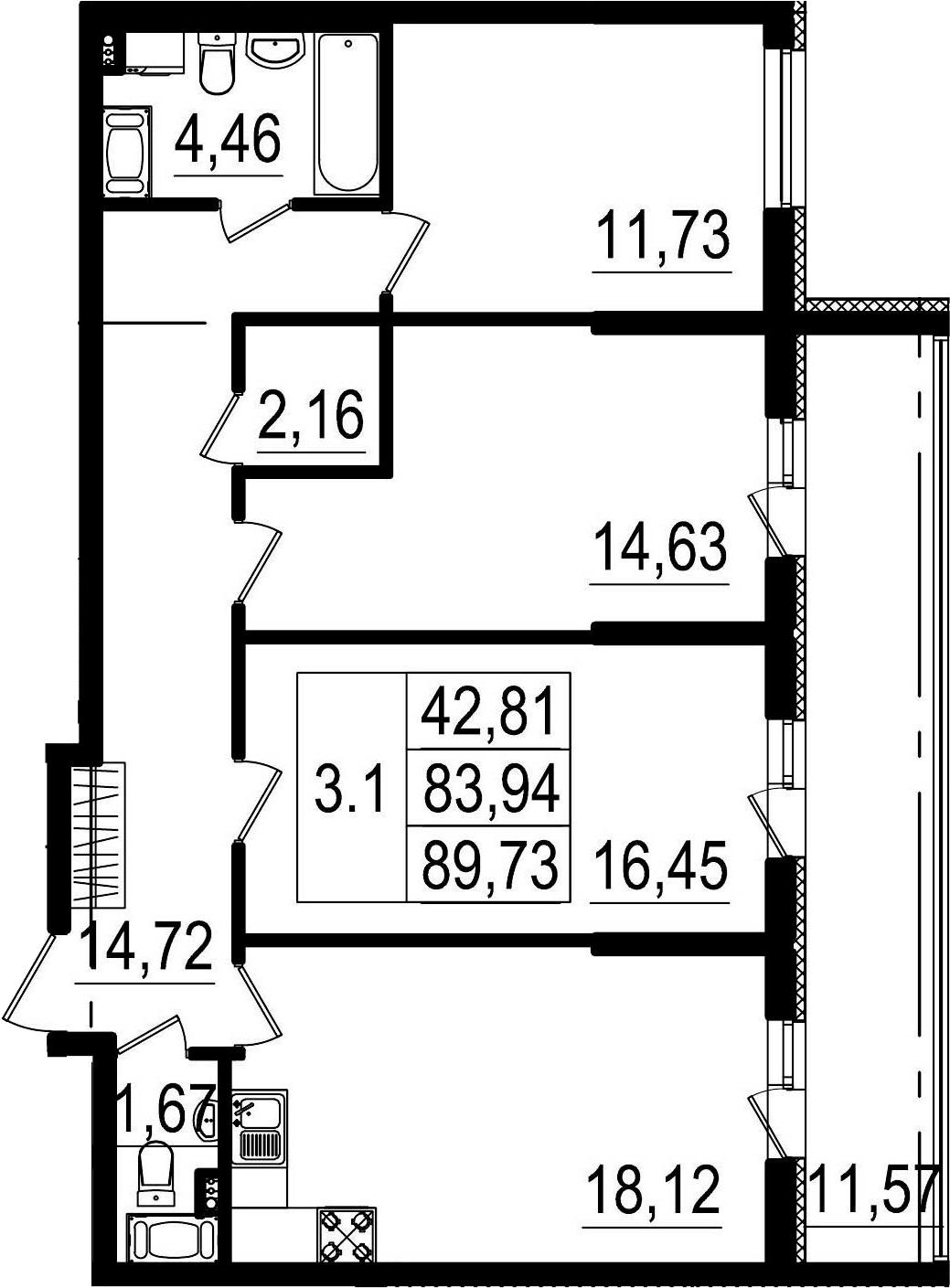 4-к.кв (евро), 95.51 м²