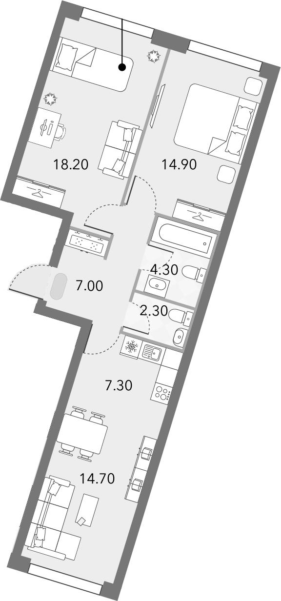 3Е-комнатная, 68.7 м²– 2