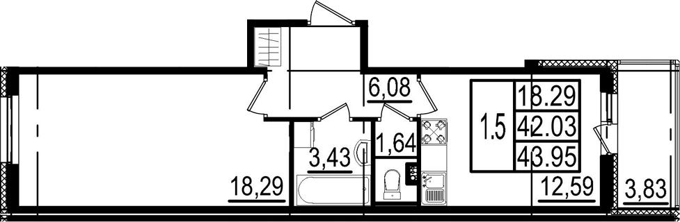 1-к.кв, 45.86 м²