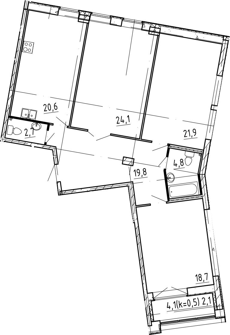 4Е-комнатная, 114.7 м²– 2