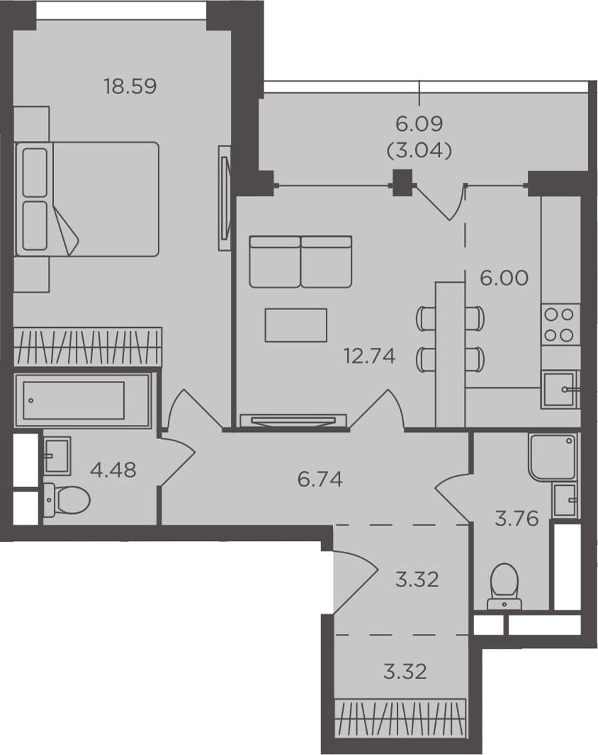 2Е-к.кв, 61.99 м², 29 этаж