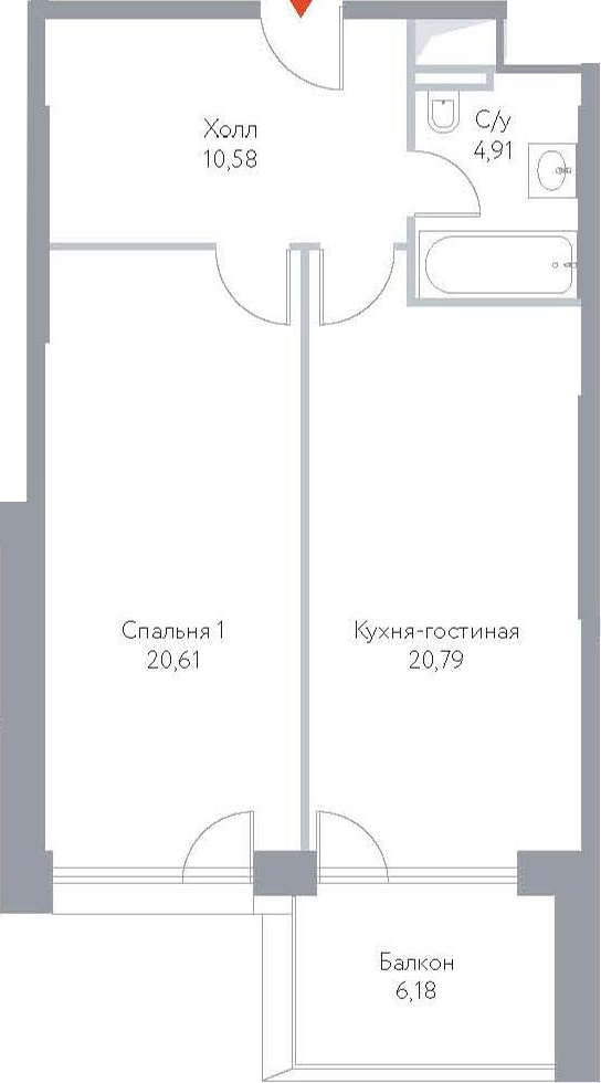 2Е-к.кв, 63.07 м², 15 этаж