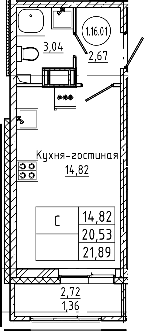 Студия, 21.89 м²