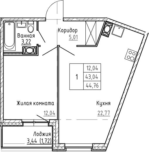 2Е-к.кв, 44.76 м², от 3 этажа