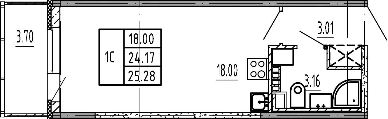 Студия, 24.17 м²– 2