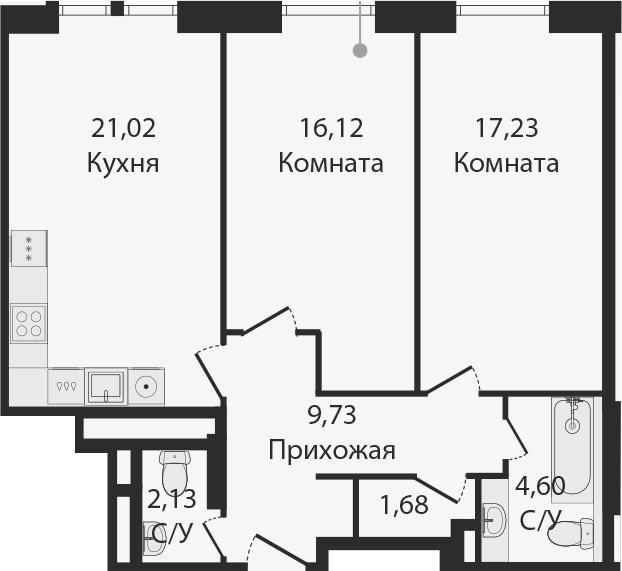 3Е-комнатная, 72.51 м²– 2