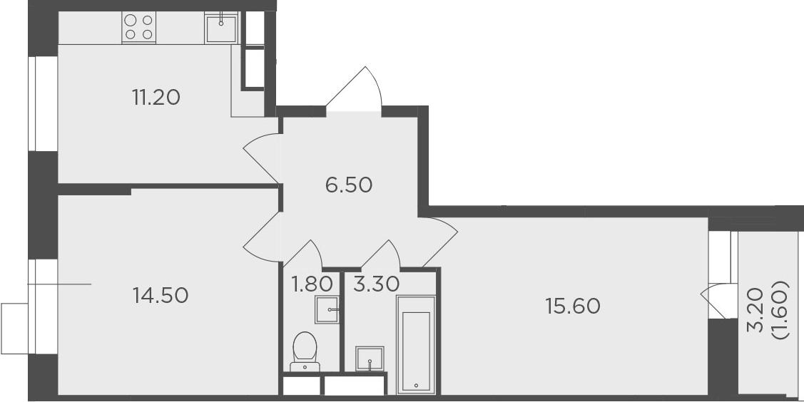 2-комнатная, 54.5 м²– 2