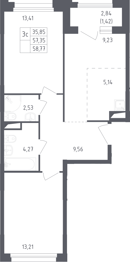 3Е-к.кв, 58.77 м²