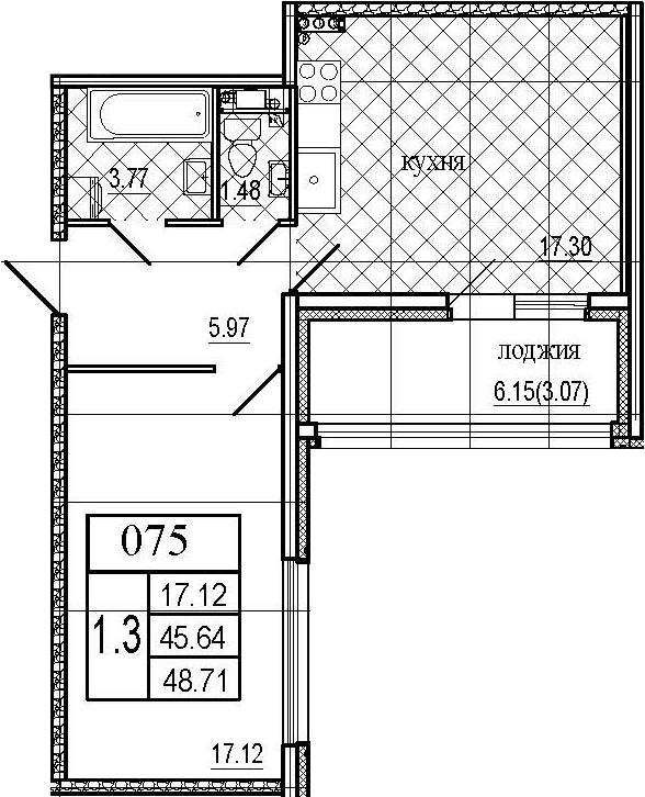 2Е-комнатная, 48.71 м²– 2