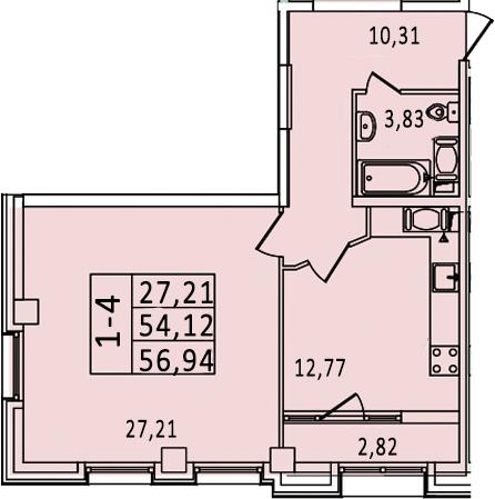 1-к.кв, 59.76 м²